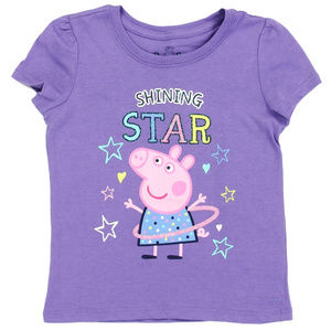 🎁Pepa Pig Pink Purple Shining Star Short Sleeve T